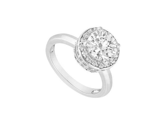 1 Carat Engagement Ring of Cubic Zirconia set in 14K White Gold Ring