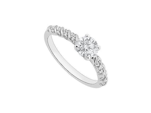 14K White Gold CZ Brilliant Cut Triple AAA Quality of 1 Carat Engagement ring