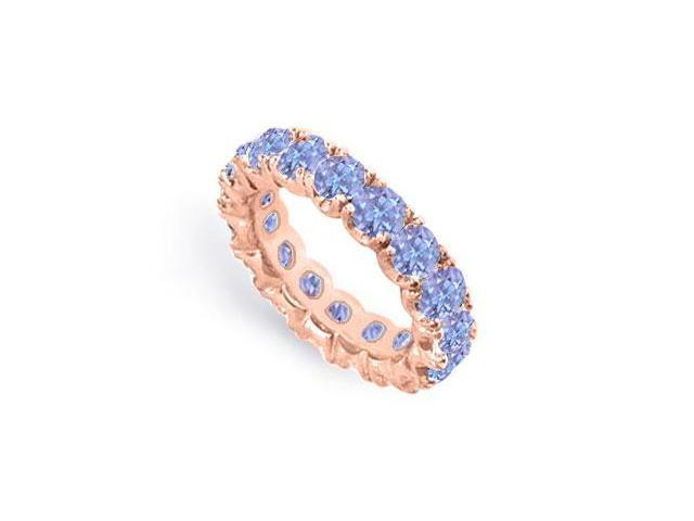 Created Tanzanite Eternity Ring Stackable Band 14K Rose Gold Vermeil 6ct tgw