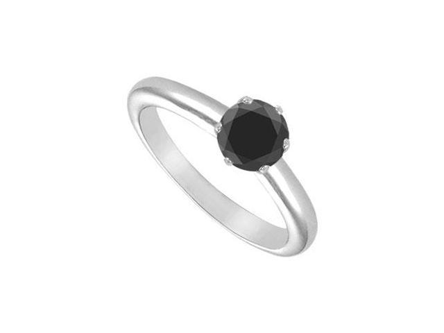 Black Onyx Solitaire Ring  14K White Gold 1.00 CT TGW