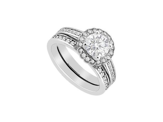 Diamond Halo Engagement Ring in 14K White Gold with Wedding Band Set 1 Carat Diamonds