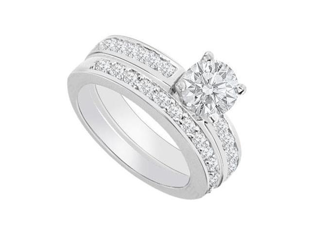 14K White Gold  Diamond Engagement Ring with Wedding Band Set 1.30 CT TDW