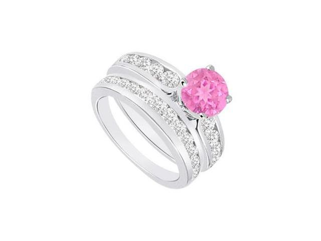 Pink Sapphire  Diamond Engagement Ring with Wedding Band Sets 14K White Gold  1.75 CT TGW