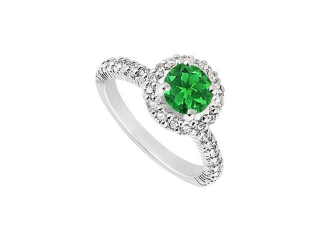 Sterling Silver Frosted Emerald and Cubic Zirconia Engagement Ring 1.25 CT TGW