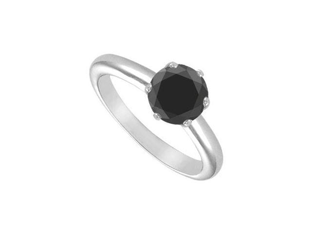 Black Onyx Solitaire Ring  14K White Gold 2.00 CT TGW