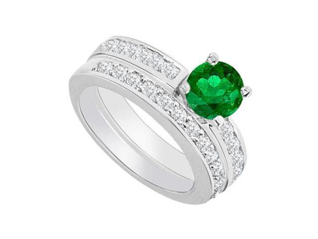 14K White Gold  Emerald and Diamond Engagement Ring with Wedding Band Set 1.30 CT TGW