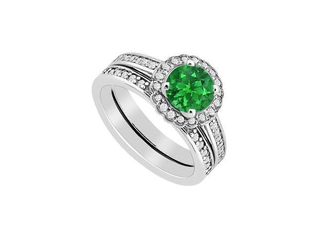 Diamond and Emerald Halo Engagement Ring with Wedding Band Set in 14K White Gold 1.25 Carat TGW