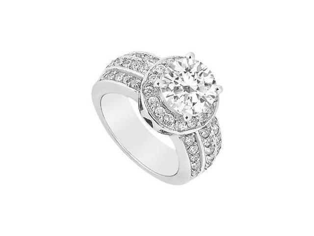 Polished 14K White Gold Cubic Zirconia 1 Carat Engagement Ring