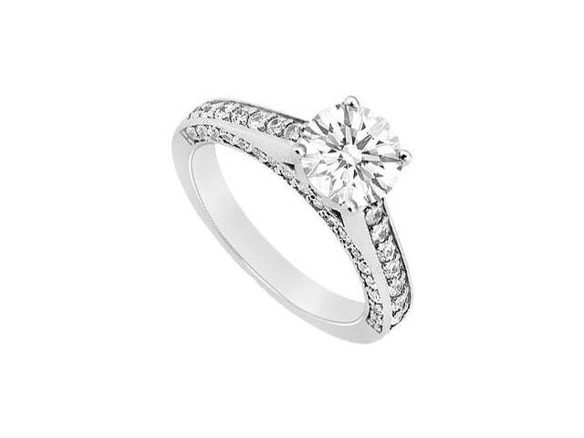 14K White Gold Engagement Ring with Cubic Zirconia of 1.50 Carat Total Gem Weight