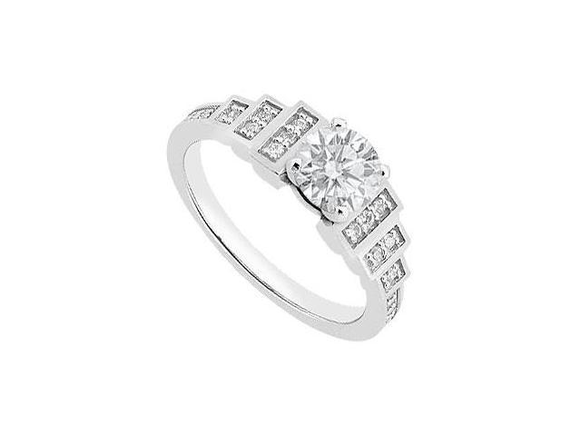 Engagement Ring in 14K White Gold 1 Carat Totaling of Cubic Zirconia AAA Quality