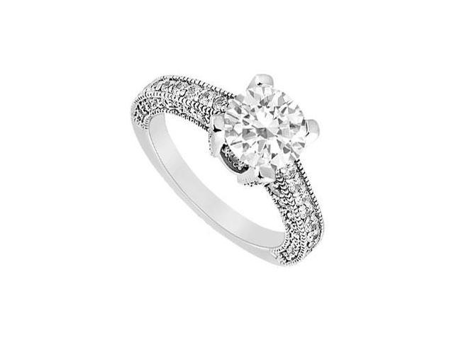Engagement Ring of CZ in Milgrain 14K White Gold 1.50 Carat Total Gem Weight