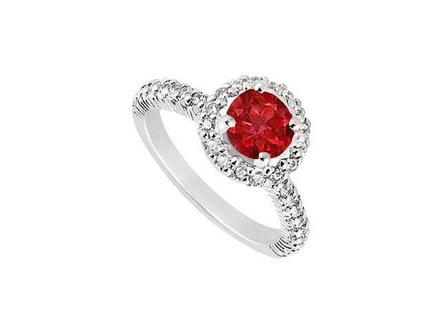 Sterling Silver GF Bangkok Ruby and Cubic Zirconia Engagement Ring 1.25 CT TGW