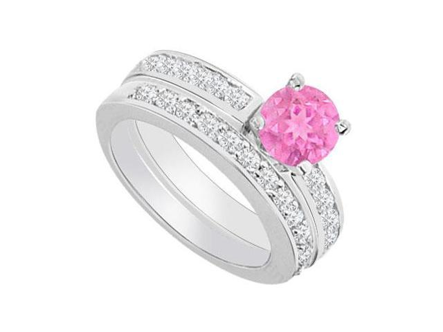 14K White Gold  Pink Sapphire and Diamond Engagement Ring with Wedding Band Set 1.30 CT TGW