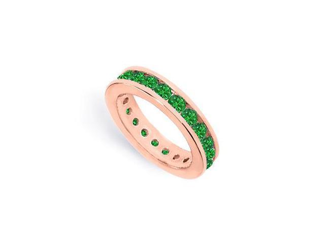 Created Green Emerald Eternity Rings Channel Set on 14K Rose Gold Vermeil 2CT TGW
