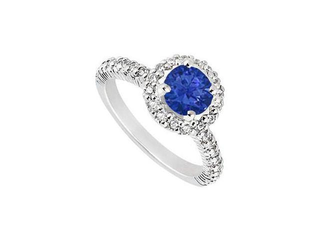 Sterling Silver Diffuse Sapphire and Cubic Zirconia Engagement Ring 1.25 CT TGW