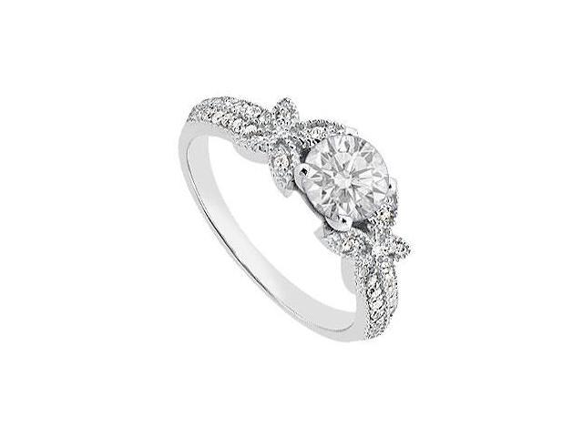 Cubic Zirconia Engagement Ring in Butterfly Style 14K White Gold 0.75 Carat Total Gem Weight