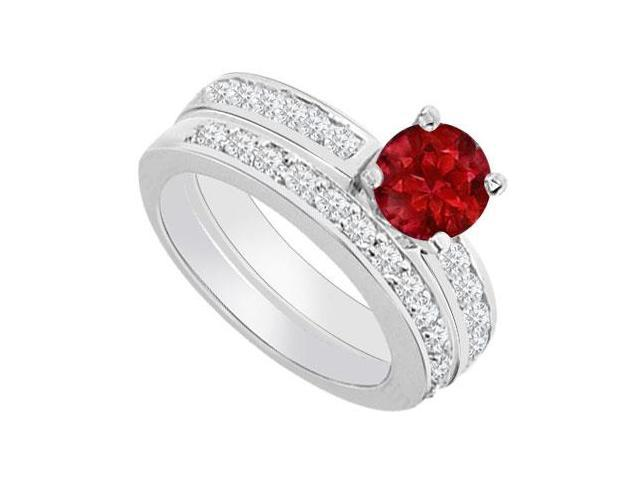 14K White Gold  Ruby and Diamond Engagement Ring with Wedding Band Set 1.30 CT TGW