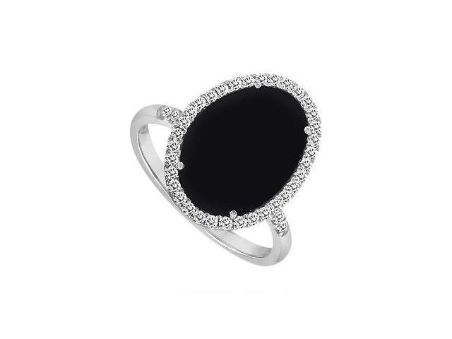 14K White Gold Black Onyx and Diamond Ring 16.00 CT TGW