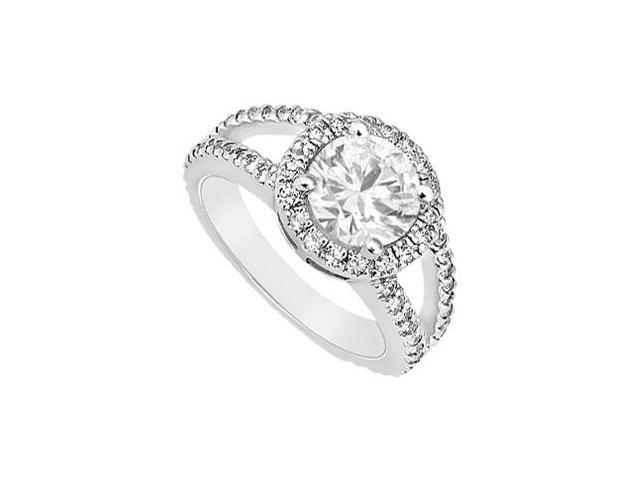 Halo Engagement Ring in 14K White Gold Triple AAA Quality CZ of 1.50 Carat Total Gem Weight