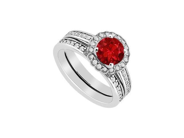 Ruby and Diamond Halo Engagement Ring with Wedding Band Sets in 14K White Gold 1.25 Carat TGW