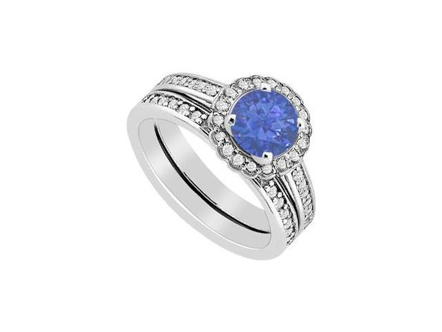 Diamond and Sapphire Halo Engagement Ring with Wedding Band Sets in 14K White Gold 1.25 Carat TG