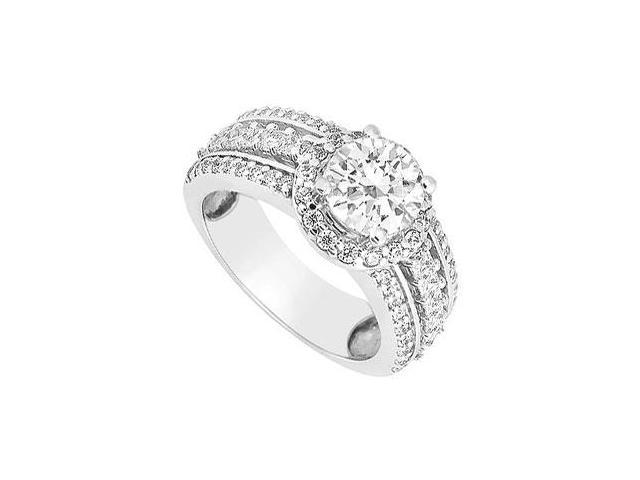 Engagement Ring of Round and Princess Cut CZ in 14K White Gold 1.50 Carat Total Gem Weight