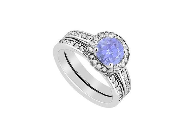 14K White Gold Diamond and Tanzanite Halo Engagement Ring with Wedding Band Sets 1.25 Carat TGW