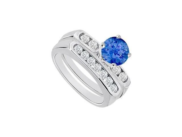 Sapphire  Diamond Engagement Ring with Wedding Band Sets 14K White Gold  0.90 CT TGW