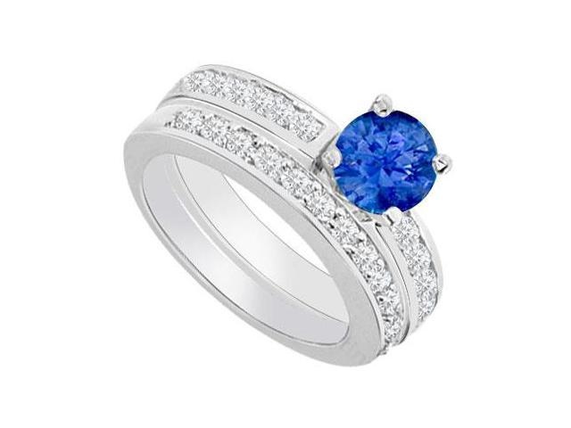14K White Gold  Sapphire and Diamond Engagement Ring with Wedding Band Set 1.30 CT TGW