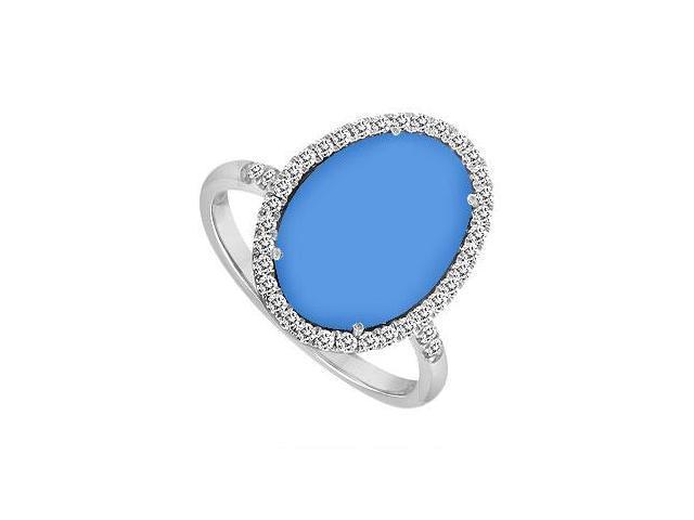 14K White Gold Blue Chalcedony and Diamond Ring 16.00 CT TGW
