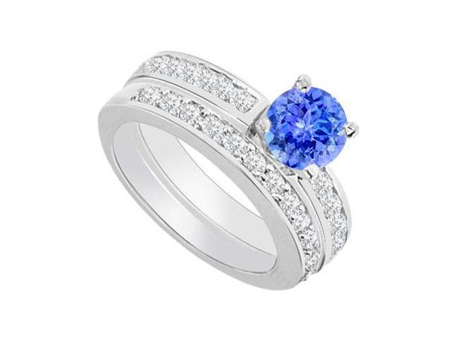 14K White Gold  Tanzanite and Diamond Engagement Ring with Wedding Band Set 1.30 CT TGW