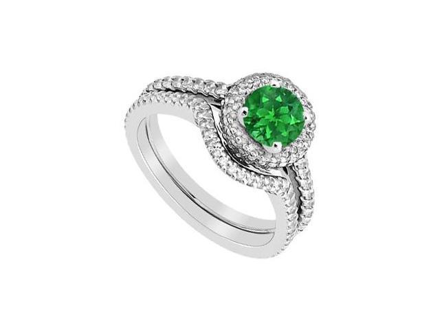 Green Emerald and Diamond Engagement Ring in 14K White Gold with Wedding Band Set 1.75 Carat TGW