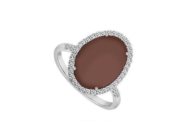 14K White Gold Chocolate Chalcedony and Diamond Ring 16.00 CT TGW