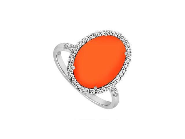 14K White Gold Orange Chalcedony and Diamond Ring 16.00 CT TGW