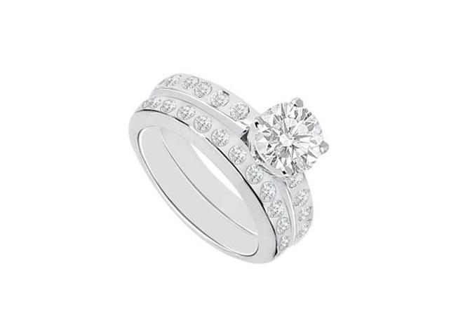 Diamond Engagement Ring with Wedding Band Sets 14K White Gold  1.35 CT TDW