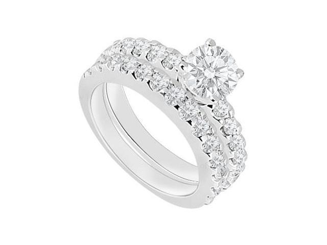 14K White Gold  Diamond Engagement Ring with Wedding Band Set 1.50 CT TDW