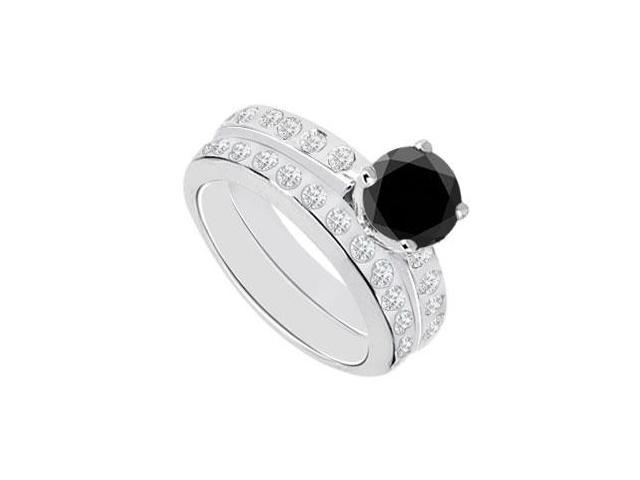Black  White Diamond Engagement Ring with Wedding Band Sets 14K White Gold  1.35 CT TDW