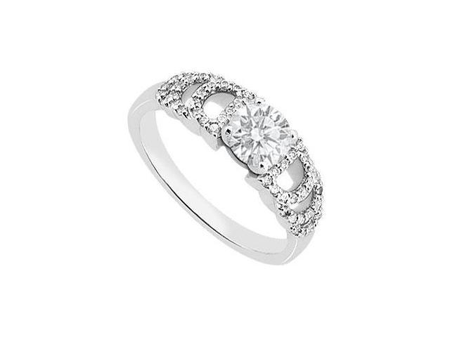 14K White Gold Cubic Zirconia 1 Carat Engagement Ring of Triple AAA Quality CZ