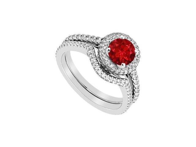 Ruby Engagement Ring and Diamonds Wedding Band Set in 14K White Gold 1.75 Carat Gem Weight
