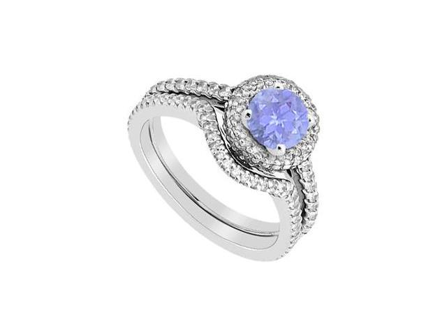 Tanzanite and Diamond Engagement Ring with Wedding Band in 14K White Gold 1.75 Carat Gem Weight