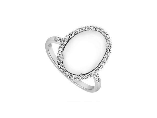 14K White Gold White Agate and Diamond Ring 16.00 CT TGW
