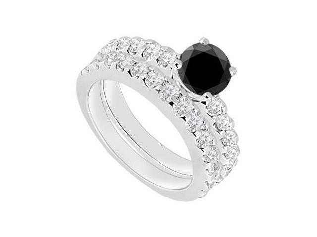14K White Gold  Black Diamond Engagement Ring with Wedding Band Set 1.50 CT TDW