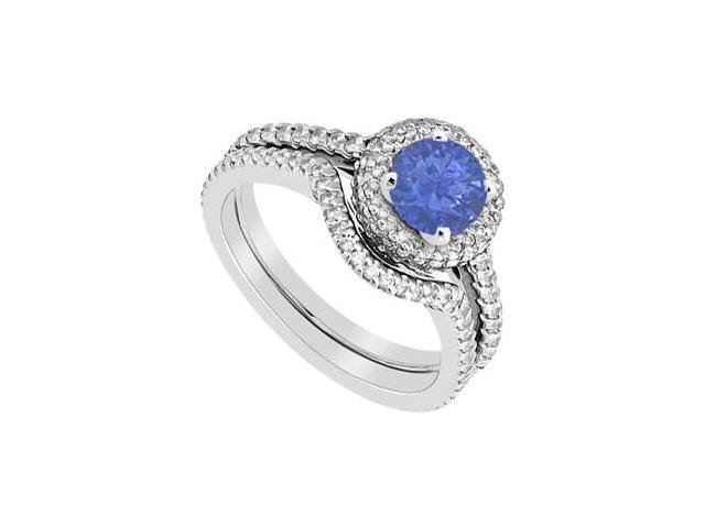 14K White Gold Sapphire Engagement Ring with Diamond Wedding Band Sets 1.75 Carat Gem Weight