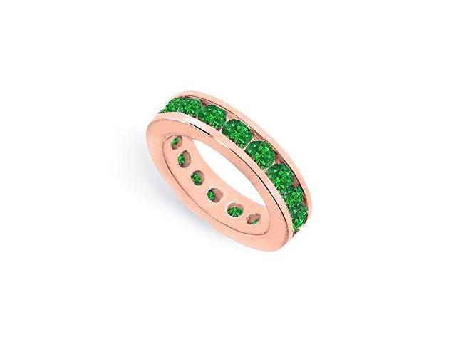 Green Created Emerald Eternity Ring in Channel set on 14K Rose Gold Vermeil 6 CT TGW