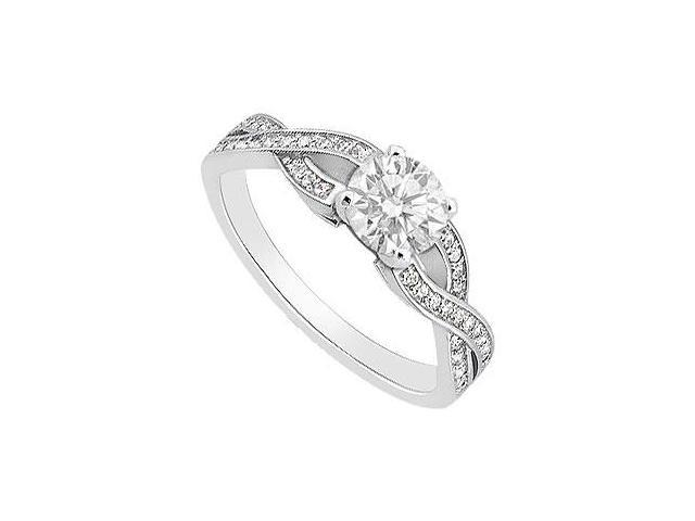 Cubic Zirconia Engagement Ring of 1 Carat Totaling in 14K White Gold Triple AAA Quality CZ