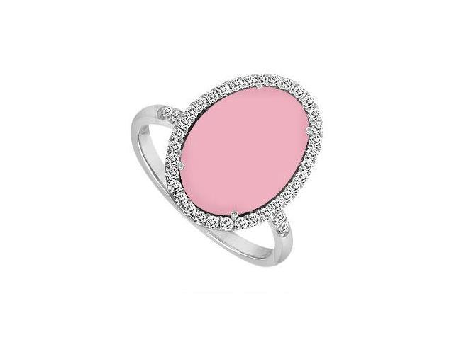 14K White Gold Pink Chalcedony and Diamond Ring 16.00 CT TGW