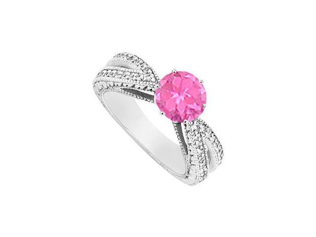 Created Pink Sapphire and Cubic Zirconia Engagement Ring .925 Sterling Silver 1.50 CT TGW