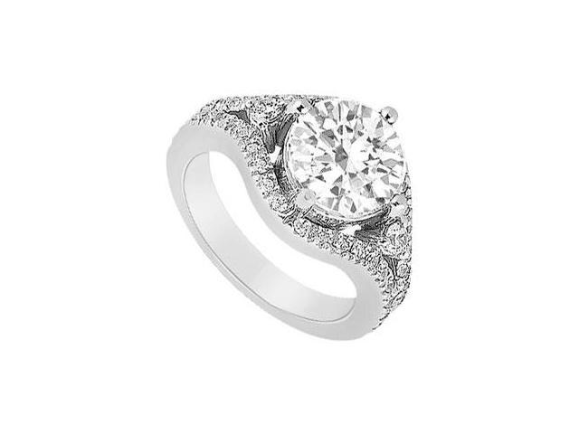 Engagement ring of AAA Quality CZ in 14K White Gold 0.75 Carat Total Gem Weight