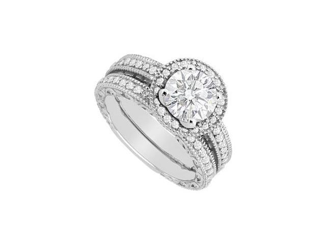 14K White Gold Milgrain Diamond Engagement Ring with Wedding Band Sets 1.05 Carat Diamonds