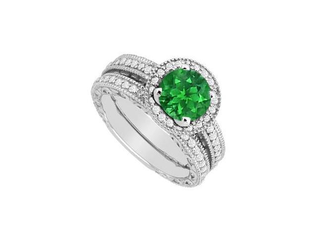 Diamond and Emerald Engagement Ring with Wedding Band Set in White Gold 14K 1.30 CT Total Weight